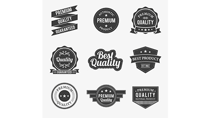 9 black quality label design vector