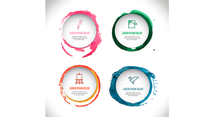 4 watercolor round tag vector material