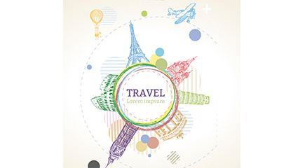 Painted World Travel tag vector material