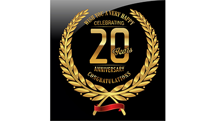 Golden 20th Anniversary label Vectors