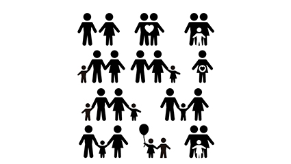 11 models black family character icon vector