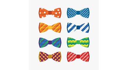 Link to8 color bow tie vector material