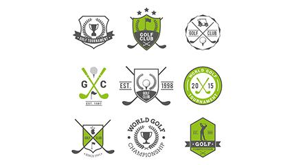 Link to9 golf club label flag vectors