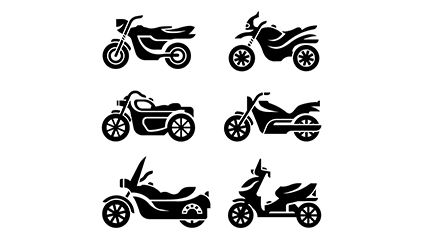 Link to6 fashion motorcycle silhouette vector material