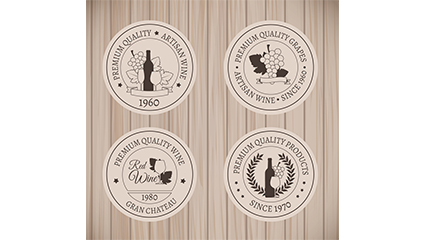 4 circular wine label vector material
