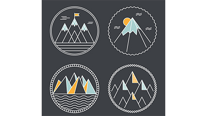 4 creative peak label vector material