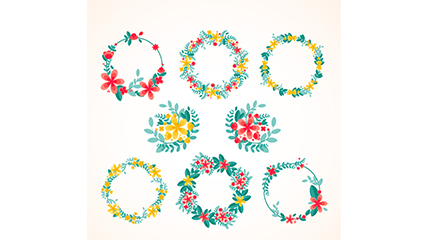 Link to8 fresh watercolor wreath vector material