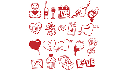 20 of red Valentine element vector material