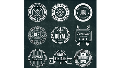 9 retro label design vector material