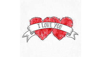 Painted double heart and ribbon vector material