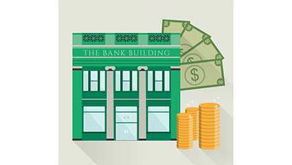 Bank building and currency design vector material