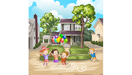 4 cartoon children playing with the game vector material