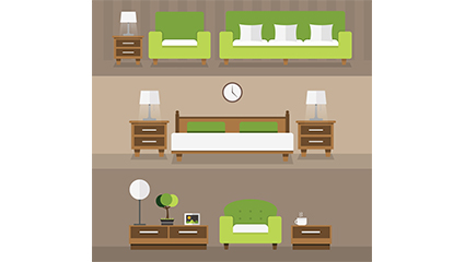3 groups of green furniture design elegant furniture vector material