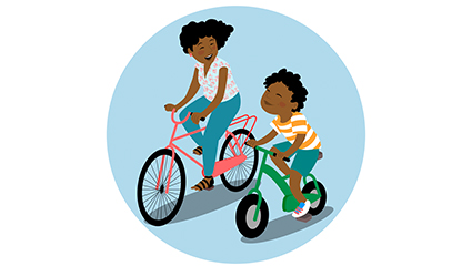 People, bicycles, cycling, mother, child, son, vector