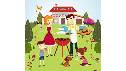 Outdoor barbecue family of four vector material