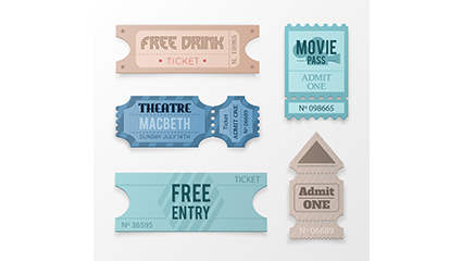 5 Tickets color design vector material