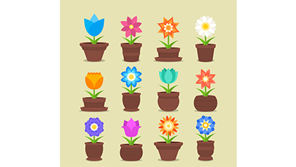 12 potted flowers vector material