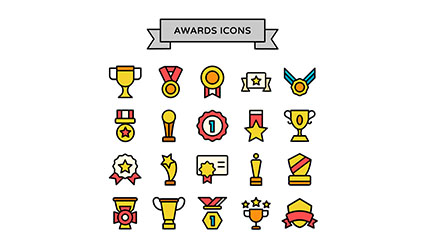 20 paragraph Trophy awards icon vector material