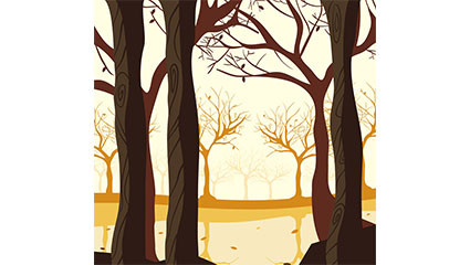 Creative autumn woods vector illustration material