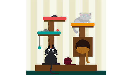 Cartoon cat and the cat climbing frame vector material