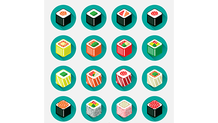 16 Japanese sushi icon vector square section