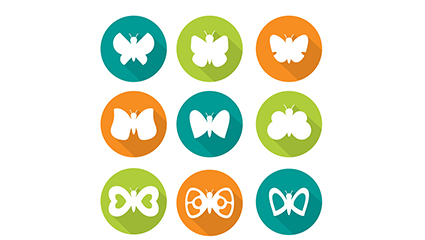 9 circular icon vector material Butterfly