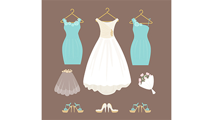White wedding dress and bridesmaid dress vector material