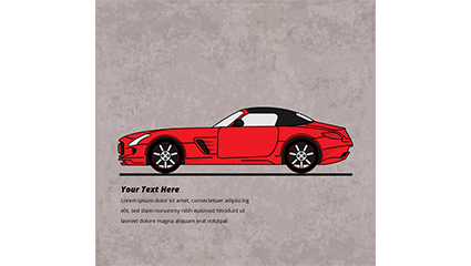Stylish red car design vector material