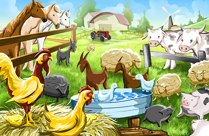 psd farm cartoon illustrations layered material download free vector