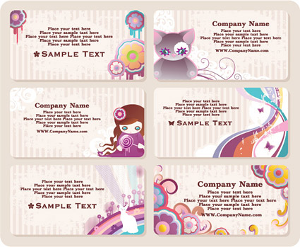 Cute Style Business Card Template Vector Download Free