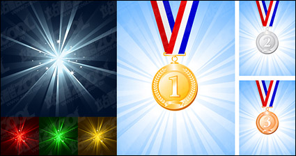 Medals and light vector