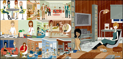 Link toSeries vector illustration of men and women of modern material-3