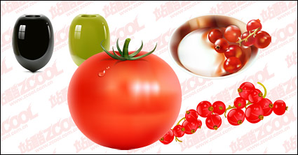 Fruits and vegetables vector material