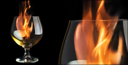 Wine inside the flame picture material