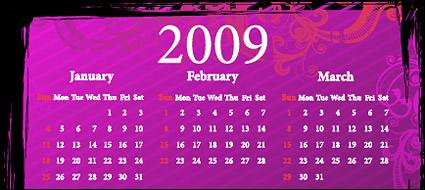 Link to2009 calendar pattern vector material