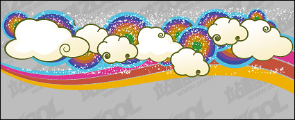 Link toLovely rainbow clouds trend vector background material