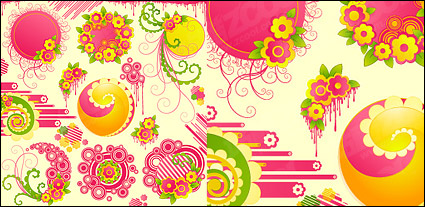 Link toLovely pink flowers with the trend of the vector round material