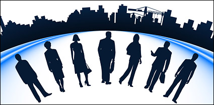 Link toBusiness people and urban construction silhouette