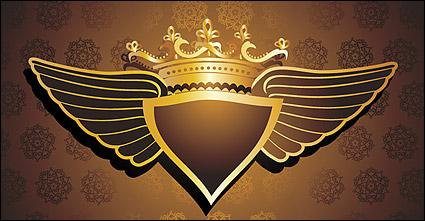 Link toCrown patterns wings vector background material