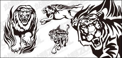 Link toTiger lion flame totem vector material