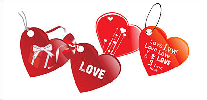 Link toHeart-shaped love tag vector material