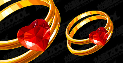 Link toHeart-shaped diamond gold ring vector material