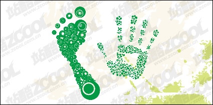 Link toDots composed of the footprints with the palm of your hand vector material