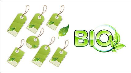 Link toGreen leaf material tag vector
