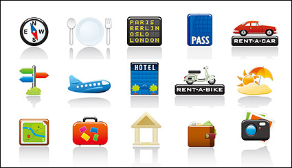 Link toTravel icon set vector subject material