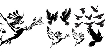 Link toBlack-and-white doves or silhouette vector material