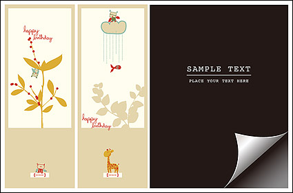 Link toBookmark with lovely pictorial paper angle vector material