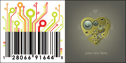 Link toMechanical heart and circuit board material bar code vector