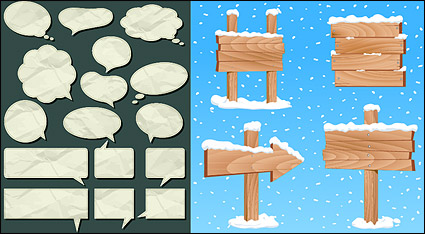 Link toDialogue bubble paper and wood grain pattern vector material signs