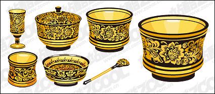 Link toClassical pattern vector material series -1 - golden utensils